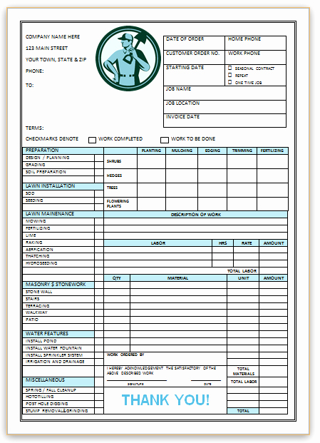 Landscaping Invoice Template Free Fresh 10 Free Landscaping Invoice Templates [professional