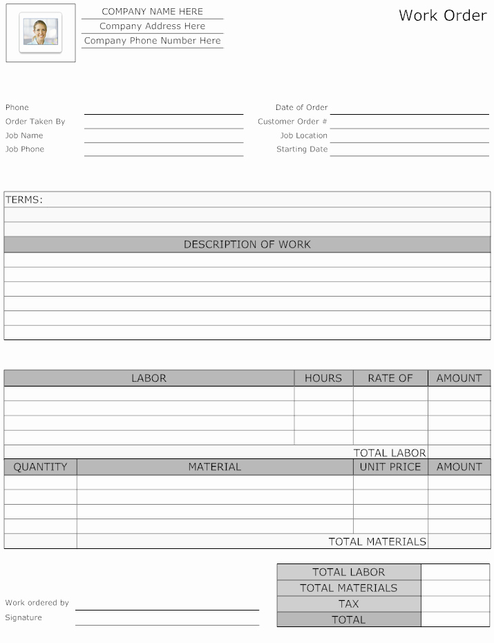 Landscaping Work order Template Awesome Example Image Maintenance Work order form Work