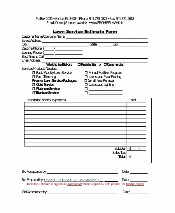 Landscaping Work order Template Lovely Custom Quote for Landscaping Lawn Maintenance Work order