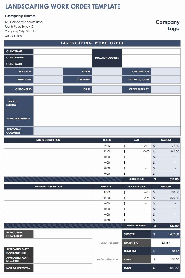 Landscaping Work order Template Unique 15 Free Work order Templates