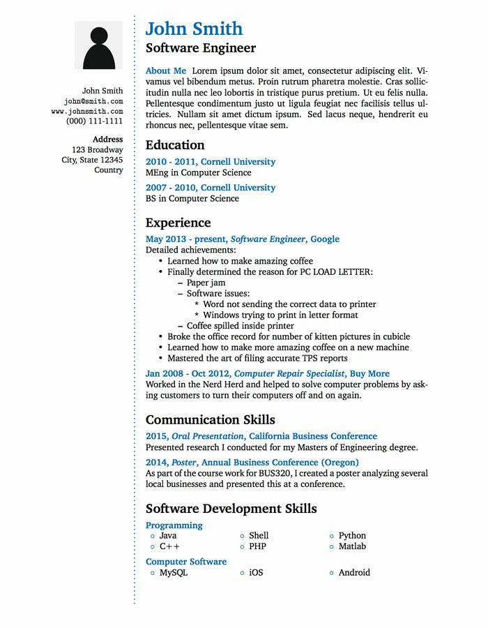 Latex Academic Cv Template Beautiful Latex Templates Wenneker Resume Cv