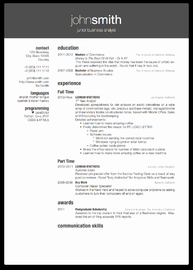 Latex Resume Template Phd New Latex Cv Template