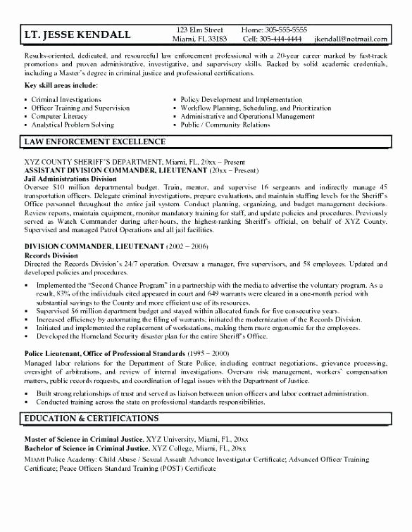 Law Enforcement Resume Template Best Of Law Enforcement Operational Plan Template Sample Police