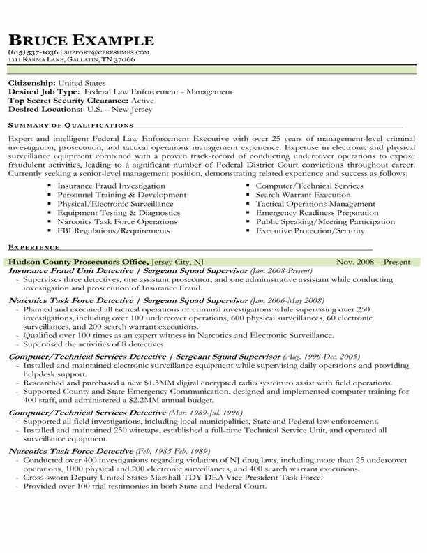 Law Enforcement Resume Template Fresh Sample Resume Law Enforcement