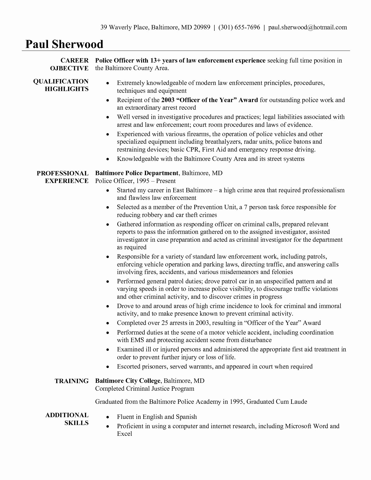 Law Enforcement Resume Template Lovely Police Sergeant Resume