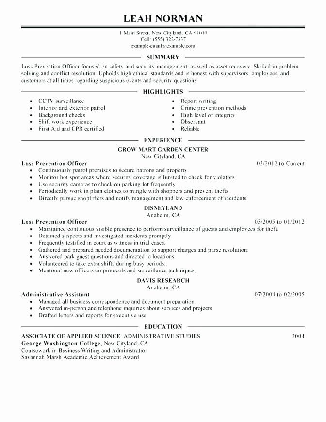 Law Enforcement Resume Template Unique Design Resume Template Police Examples Law Enforcement