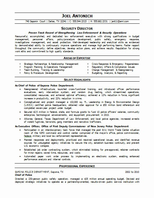 Law Enforcement Resume Template Unique Law Enforcement Security Resume