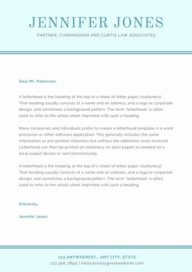 Law Firm Letterhead Template New Blue Simple Law Firm Letterhead Templates by Canva