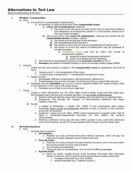Law School Outline Template Beautiful torts Outlines