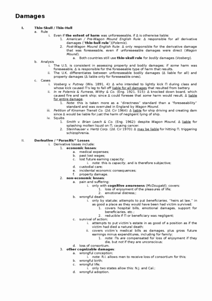 Law School Outline Template Luxury torts Outlines