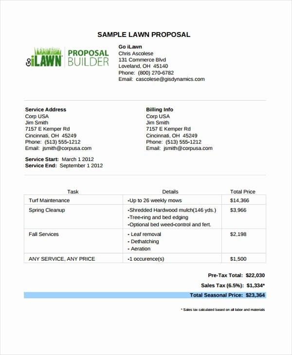 Lawn Care Bid Template Inspirational 12 Service Proposal Templates Word Pdf Pages