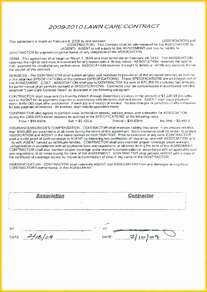 Lawn Care Bid Template Luxury Snow Removal Bid Template Luxury Plowing Contract Free