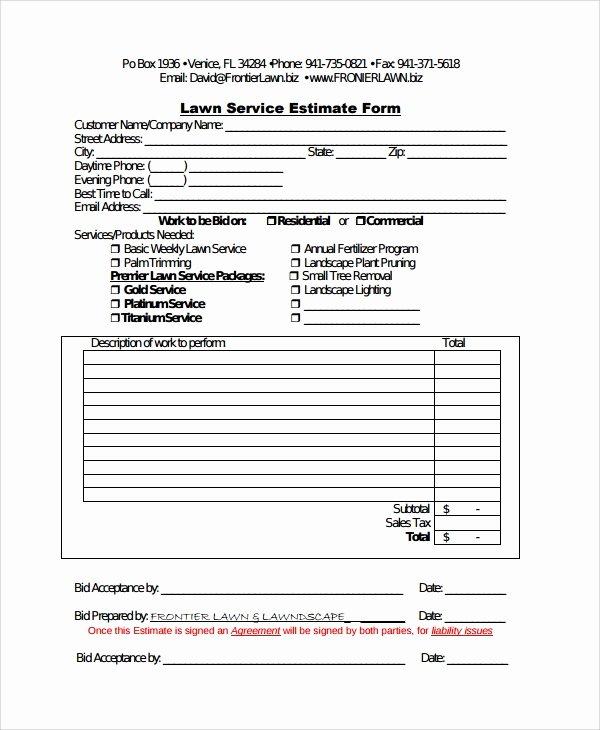 Lawn Care Bid Template Unique Sample Service Estimate Template 7 Free Documents