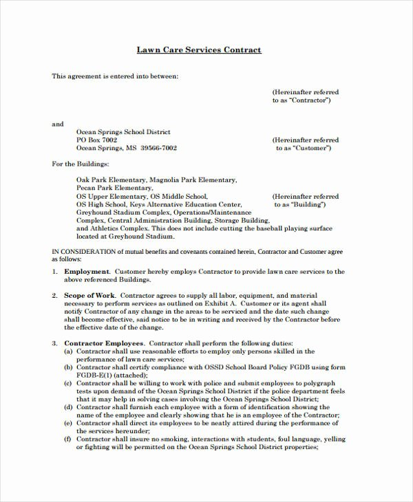 Lawn Care Contract Template Awesome 42 Sample Contract Templates