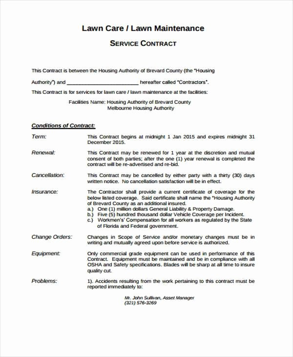Lawn Care Contract Template Beautiful Lawn Service Contract Template