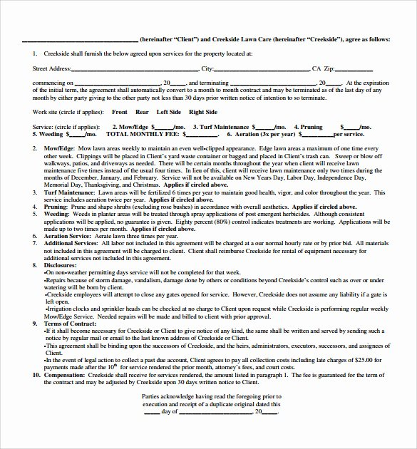 Lawn Care Contract Template Best Of 12 Plumbing Contract Templates to Download for Free