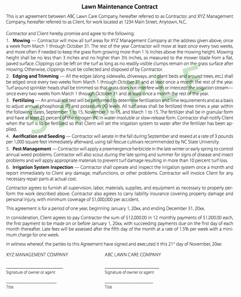 Lawn Care Contract Template Best Of Tips On Writing Turf Contracts and Landscape