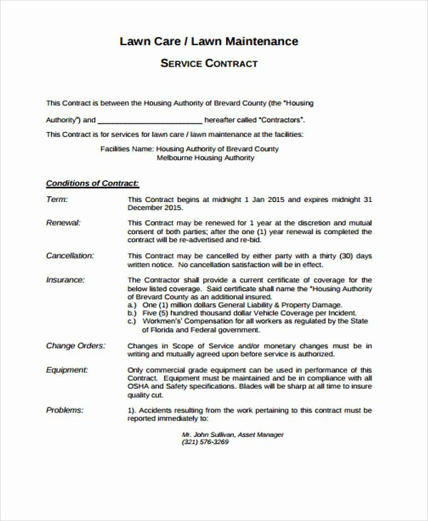 Lawn Care Contract Template Elegant 10 Lawn Service Contract Templates Free Sample Example