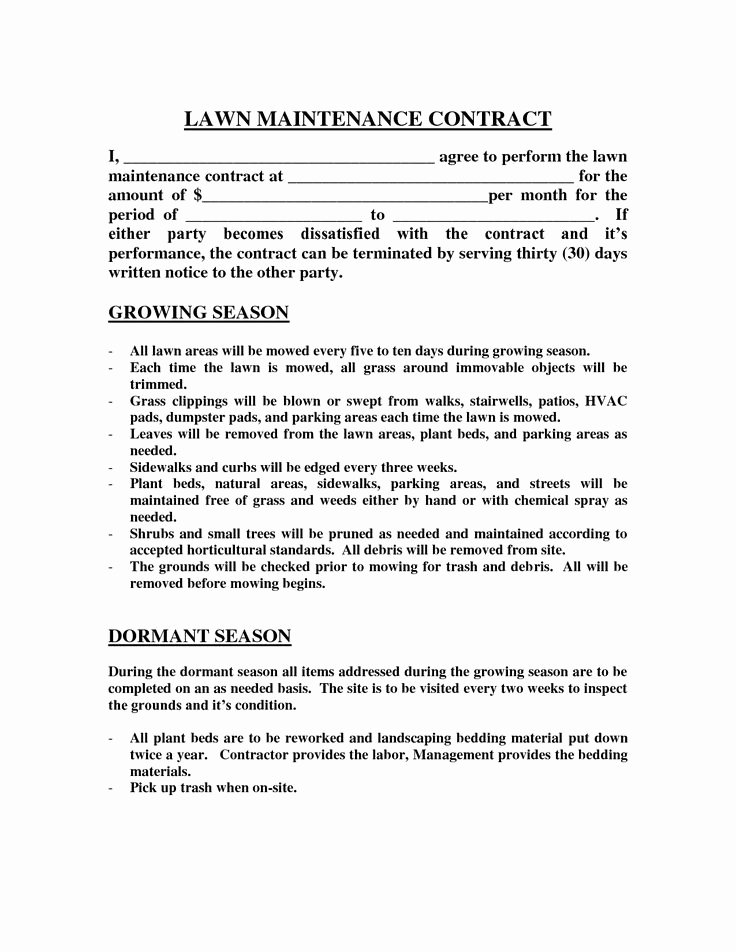 Lawn Care Contract Template Fresh Best 25 Lawn Mowing Business Ideas On Pinterest