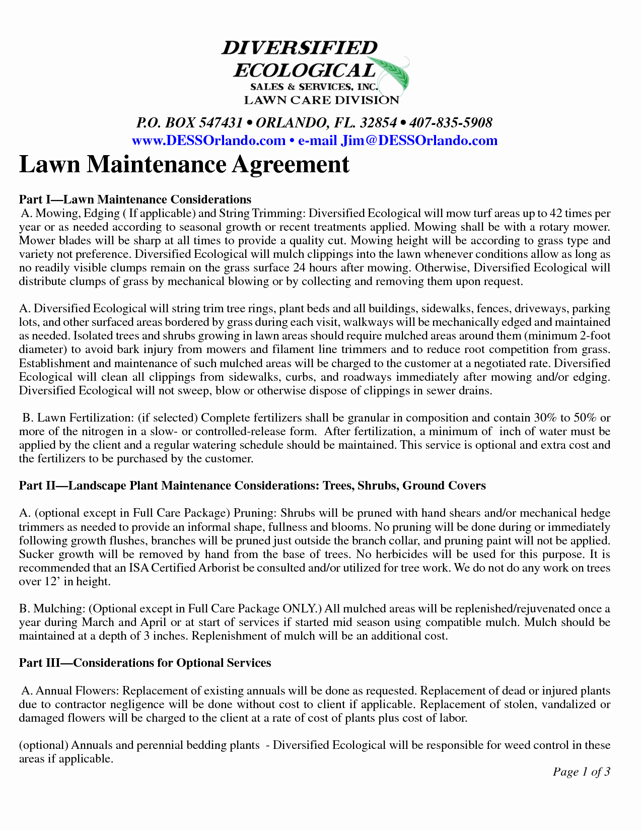 Lawn Care Contract Template Fresh Lawn Maintenance Contract Agreement Free Printable Documents