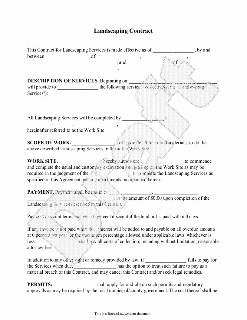 Lawn Care Contract Template Inspirational Landscaping Contract Template Lawn Maintenance Contract