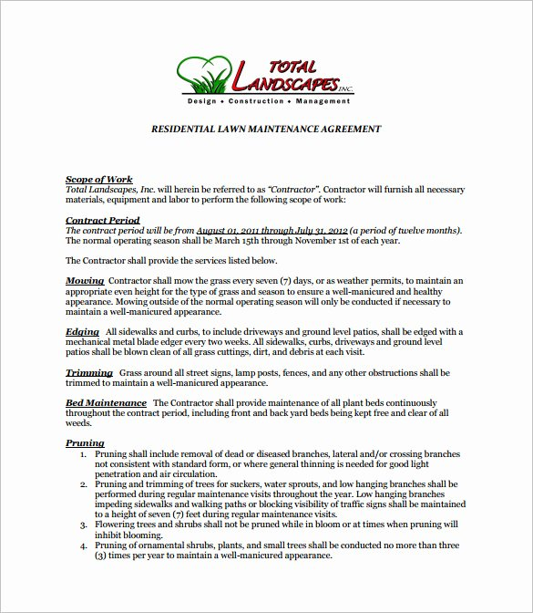 Lawn Care Contract Template Lovely 9 Lawn Service Contract Templates Pdf Doc