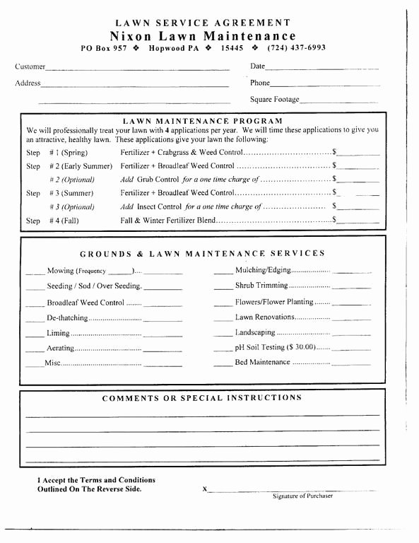 Lawn Care Contract Template Lovely Free Printable Lawn Care Contract form Generic