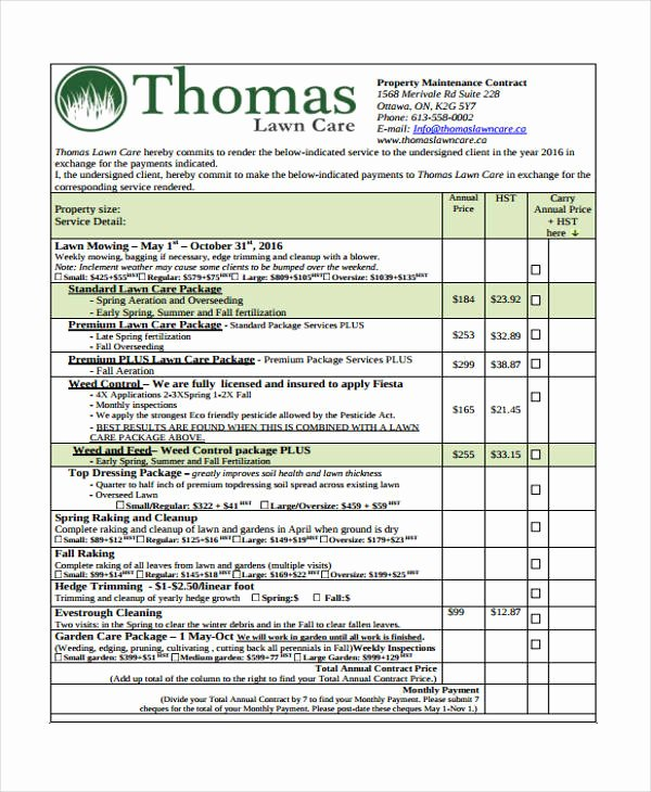 Lawn Care Contract Template Unique 10 Lawn Service Contract Templates Free Sample Example