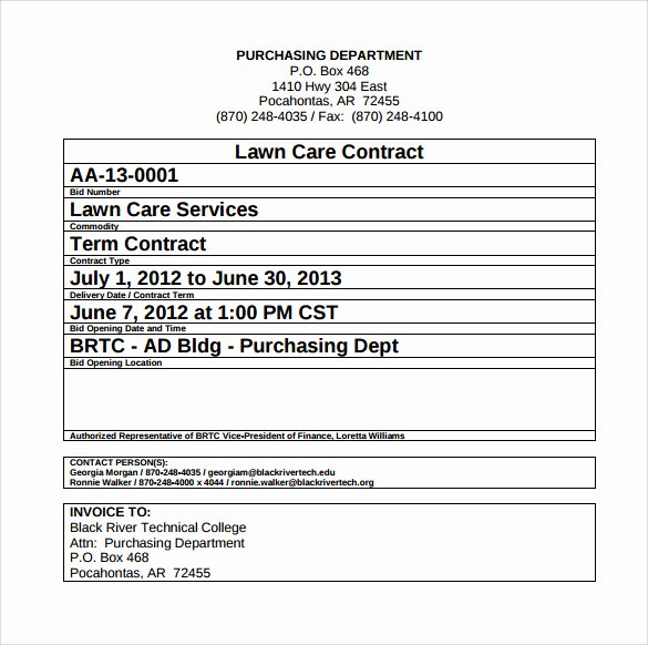 Lawn Care Contract Template Unique Lawn Service Contract Template 10 Download Documents In