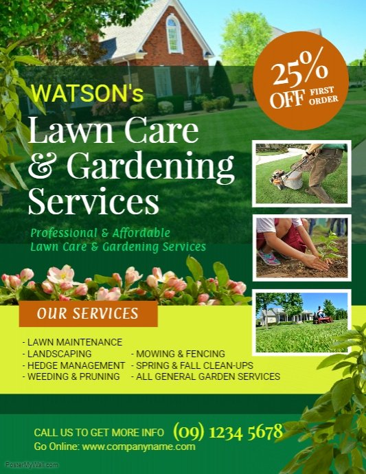 Lawn Care Flyer Template Beautiful Lawn and Landscaping Flyer Template