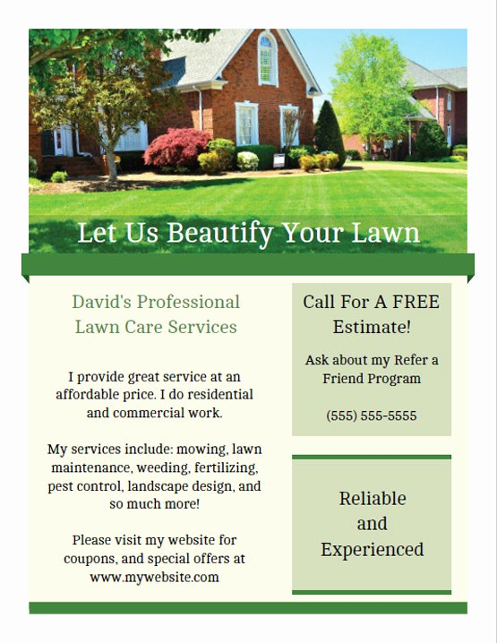 Lawn Care Flyer Template Elegant Printable Lawn Care Business Flyer Templates