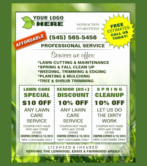 Lawn Care Flyer Template Inspirational 20 Coupon Flyer Templates Psd Indesign