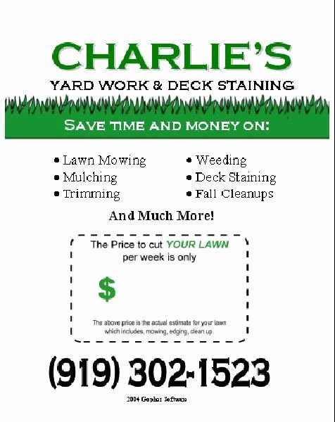 Lawn Care Flyers Template Beautiful Lawn Care Flyer Template Free F and Football Season Lawn