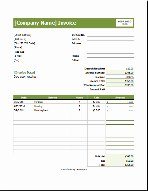 Lawn Care Invoice Template Beautiful Lawn Care Invoice Template for Excel