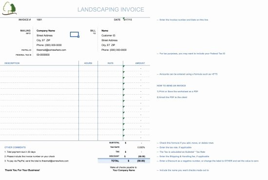 Lawn Care Invoice Template Elegant Landscaping Invoice Template Free