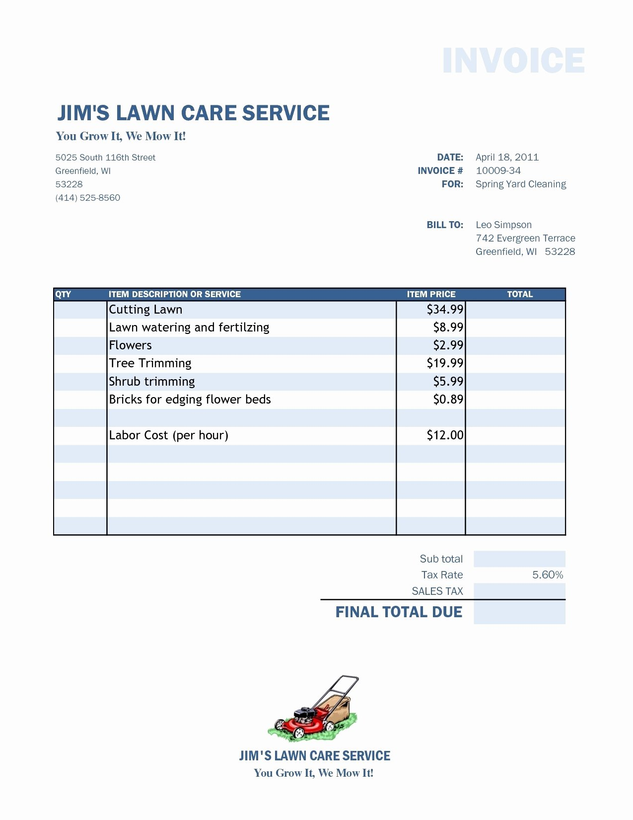 Lawn Care Invoice Template Fresh Lawn Service Invoice Invoice Template Ideas