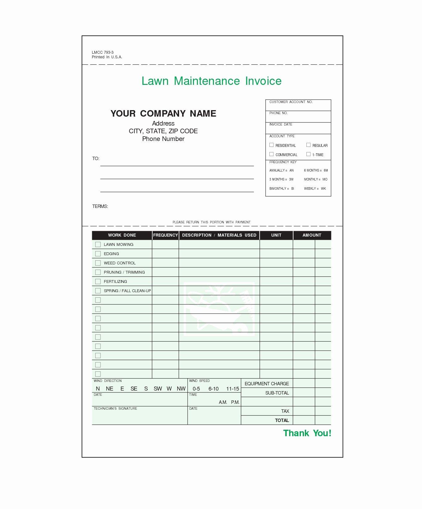 Lawn Care Invoice Template Unique Lawn Service Invoice Template Invoice Template Ideas