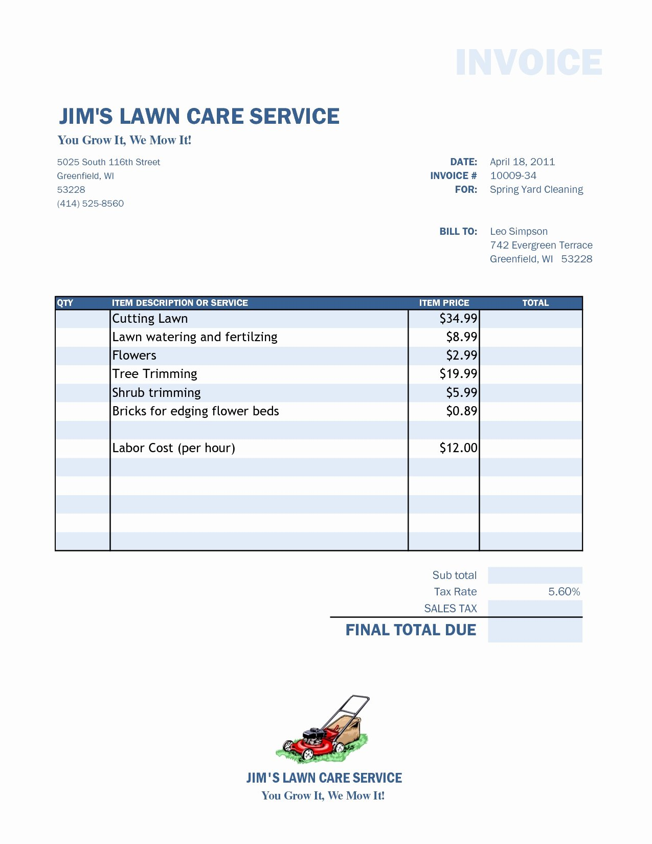 Lawn Care Logo Template Beautiful Lawn Care Invoice Template