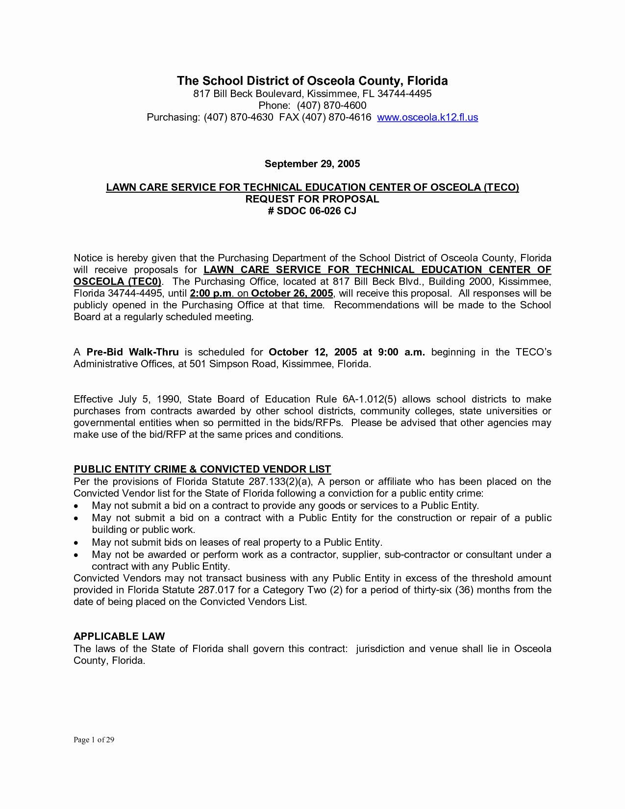 Lawn Care Proposal Template Inspirational Bid Proposal Letter Mughals