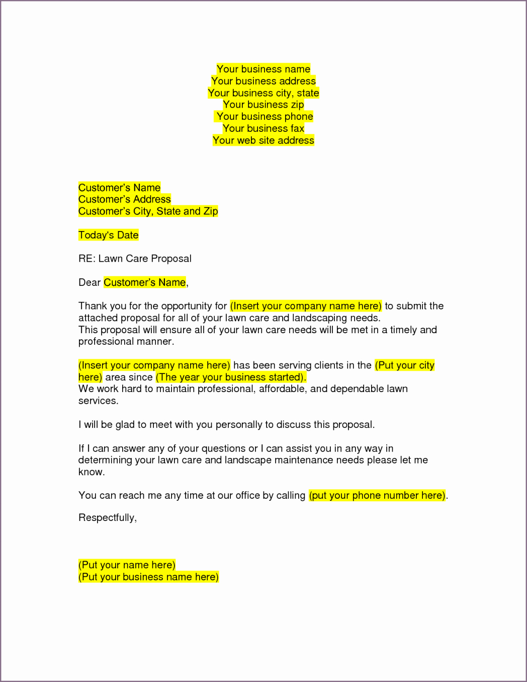 Lawn Care Proposal Template Lovely Lawn Care Proposal