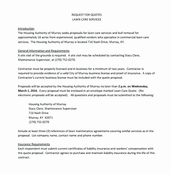 Lawn Care Proposal Template Unique Lawn Care Bid Template Service Free Cover Letter