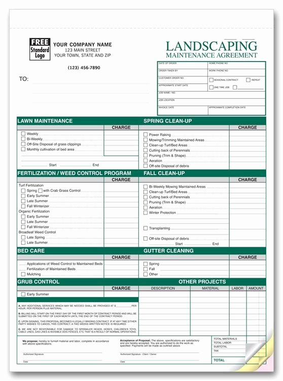 Lawn Care Quotes Template Beautiful Free Printable Lawn Service Contract form Generic