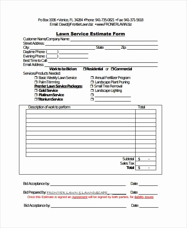 Lawn Care Quotes Template Beautiful Sample Service Estimate Template 7 Free Documents