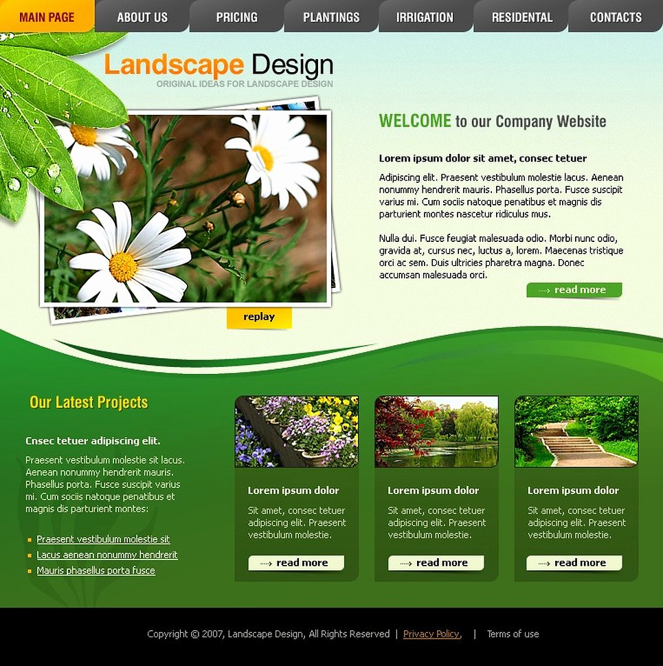 Lawn Care Website Template Lovely Landscape Design Flash Template