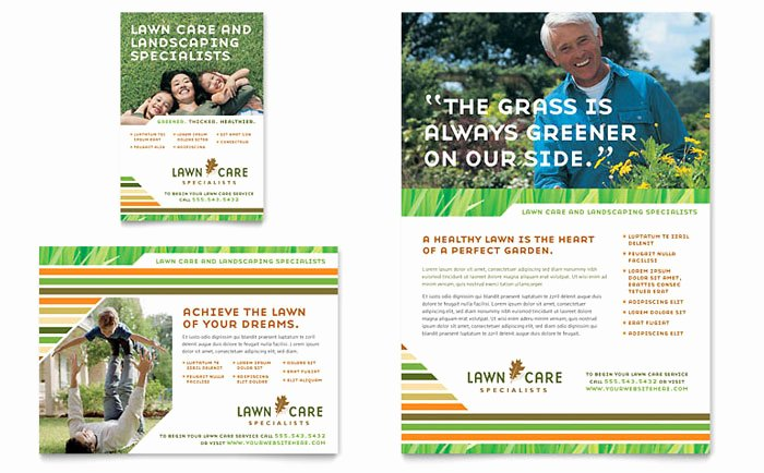 Lawn Care Mowing Flyer Ad Template Design GB