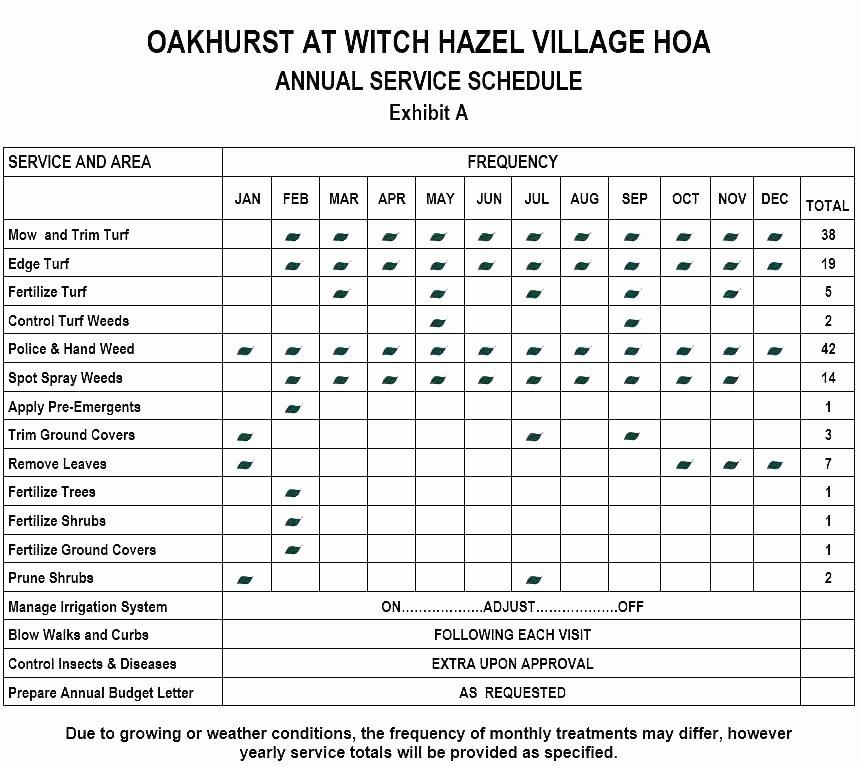 Lawn Maintenance Schedule Template Fresh Yearly Maintenance Schedule Template – Psychicnights