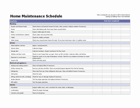 Lawn Maintenance Schedule Template Lovely Home Maintenance Schedule