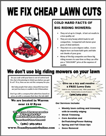 Lawn Mower Flyer Template Beautiful Lawn Care Flyers
