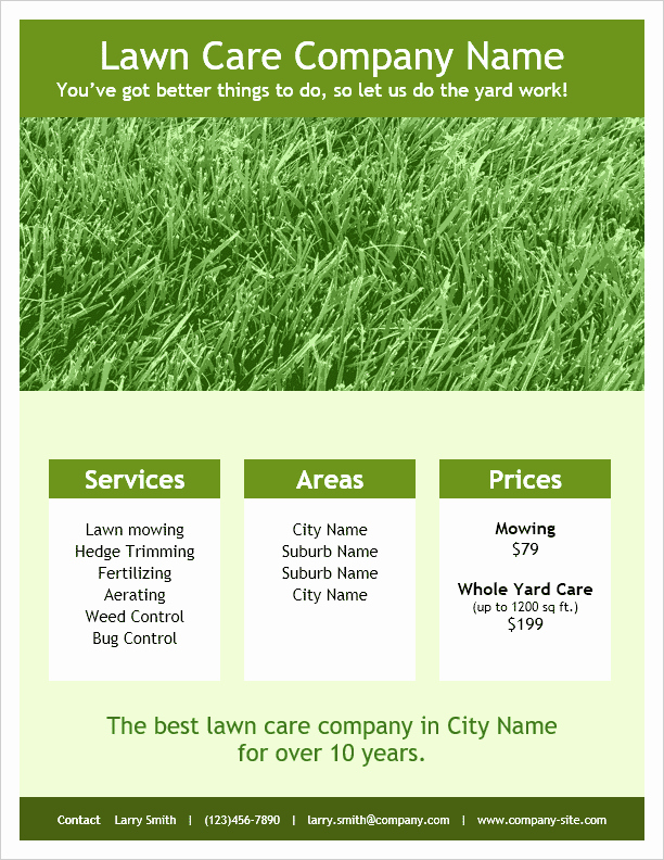 Lawn Mower Flyer Template Fresh Lawn Care Flyer Template for Word