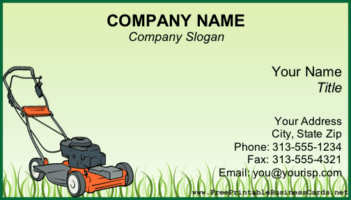 Lawn Mower Flyer Template Inspirational Lawnmower Business Card